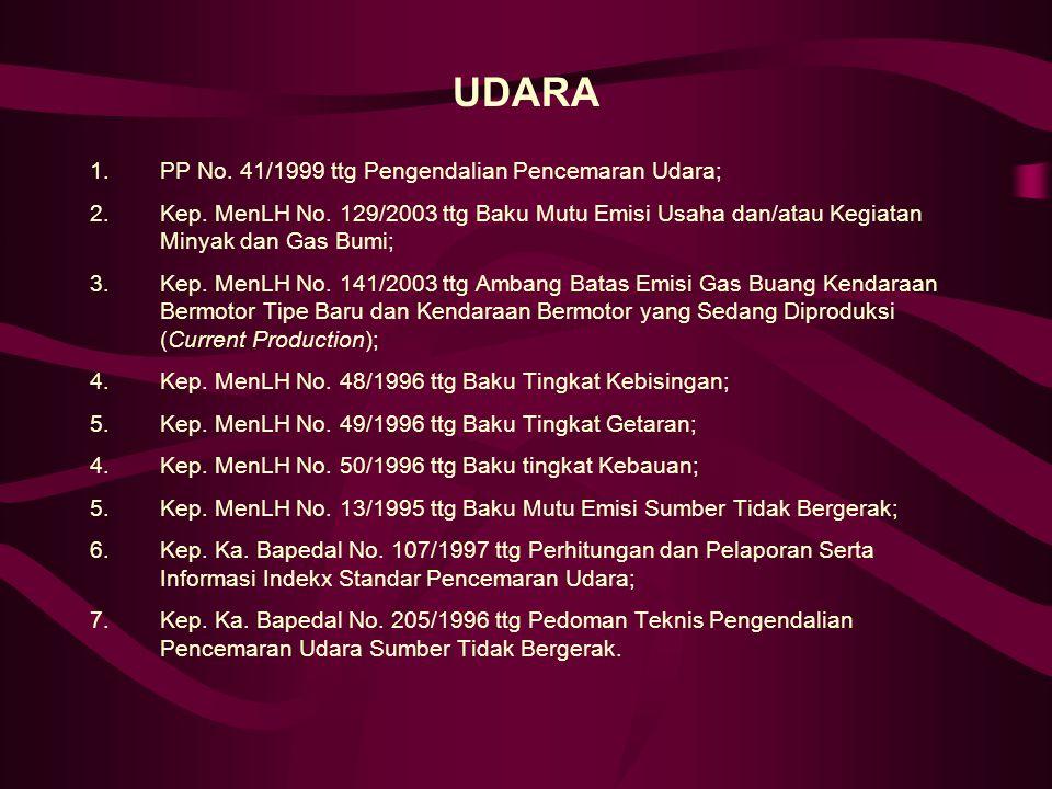 UDARA 1.PP No.41/1999 ttg Pengendalian Pencemaran Udara; 2.Kep.