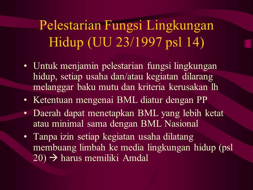 Pelestarian Fungsi Lingkungan Hidup (UU 23/1997 psl 14) Untuk menjamin pelestarian fungsi lingkungan hidup, setiap usaha dan/atau kegiatan dilarang me