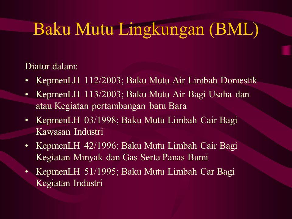 Baku Mutu Lingkungan (BML) Diatur dalam: KepmenLH 112/2003; Baku Mutu Air Limbah Domestik KepmenLH 113/2003; Baku Mutu Air Bagi Usaha dan atau Kegiata