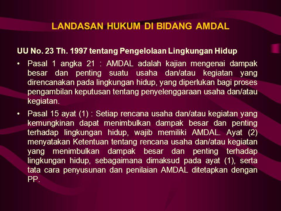 LANDASAN HUKUM DI BIDANG AMDAL UU No. 23 Th. 1997 tentang Pengelolaan Lingkungan Hidup Pasal 1 angka 21 : AMDAL adalah kajian mengenai dampak besar da