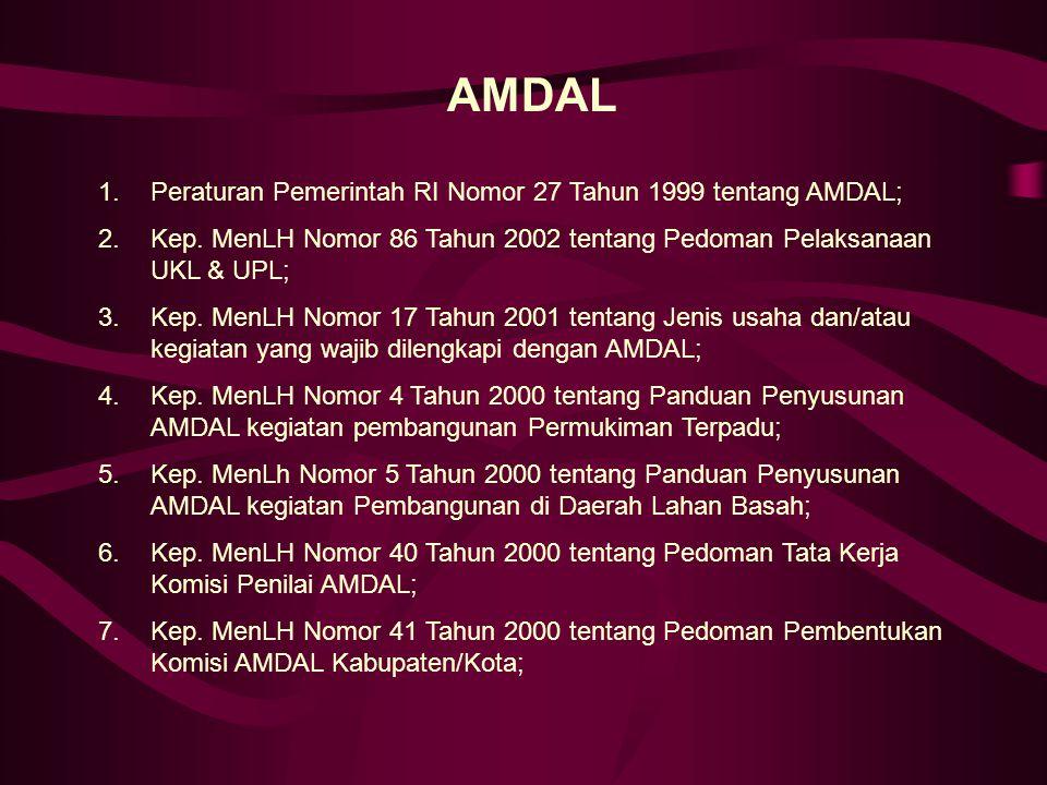AMDAL 1.Peraturan Pemerintah RI Nomor 27 Tahun 1999 tentang AMDAL; 2.Kep. MenLH Nomor 86 Tahun 2002 tentang Pedoman Pelaksanaan UKL & UPL; 3.Kep. MenL