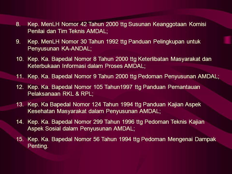 8.Kep. MenLH Nomor 42 Tahun 2000 ttg Susunan Keanggotaan Komisi Penilai dan Tim Teknis AMDAL; 9.Kep. MenLH Nomor 30 Tahun 1992 ttg Panduan Pelingkupan