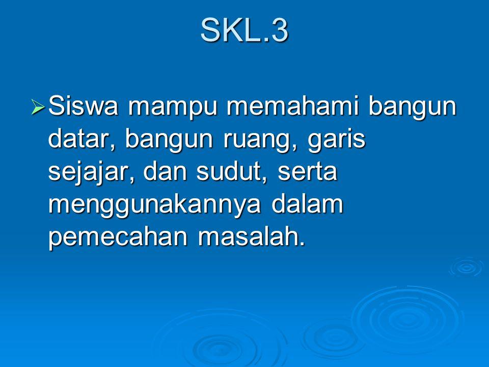 SKL.3  Siswa mampu memahami bangun datar, bangun ruang, garis sejajar, dan sudut, serta menggunakannya dalam pemecahan masalah.