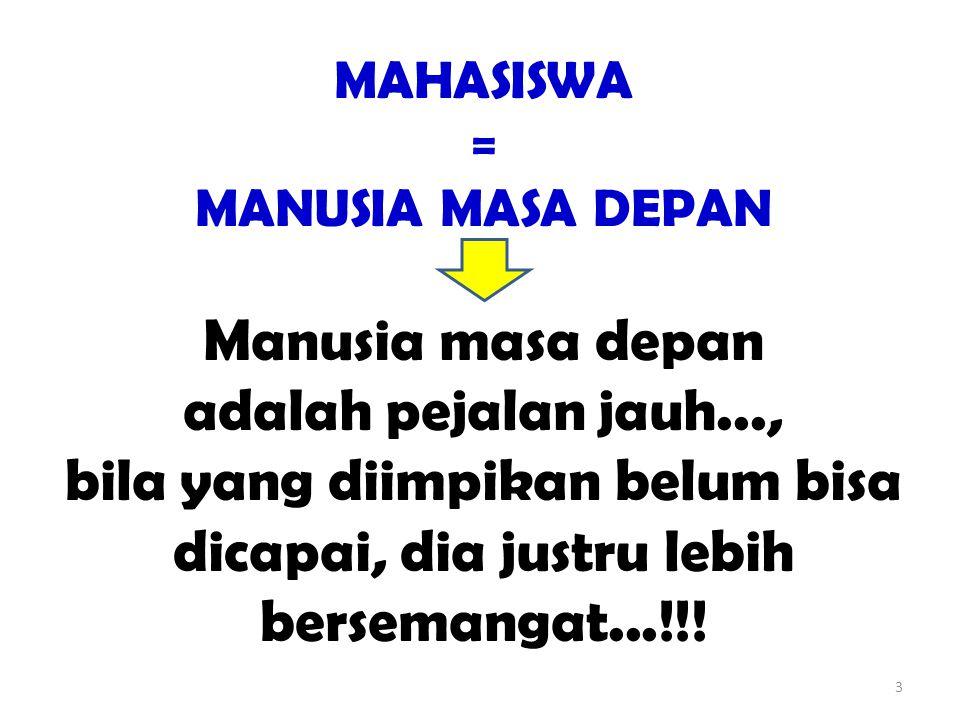 3 MAHASISWA = MANUSIA MASA DEPAN Manusia masa depan adalah pejalan jauh..., bila yang diimpikan belum bisa dicapai, dia justru lebih bersemangat...!!!