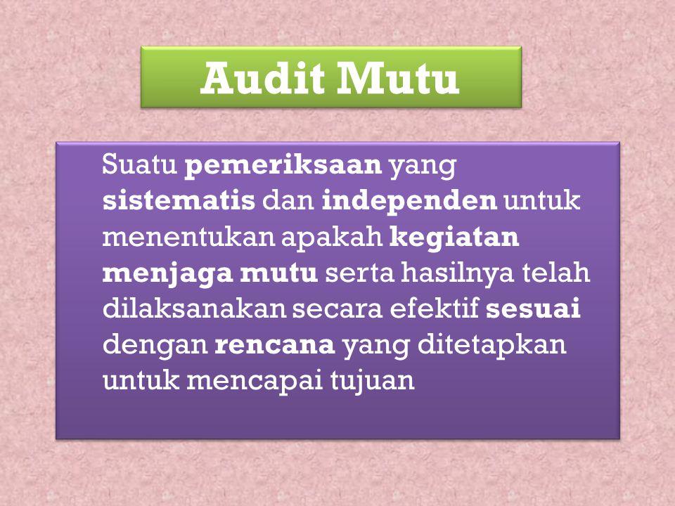 Audit Mutu Suatu pemeriksaan yang sistematis dan independen untuk menentukan apakah kegiatan menjaga mutu serta hasilnya telah dilaksanakan secara efe