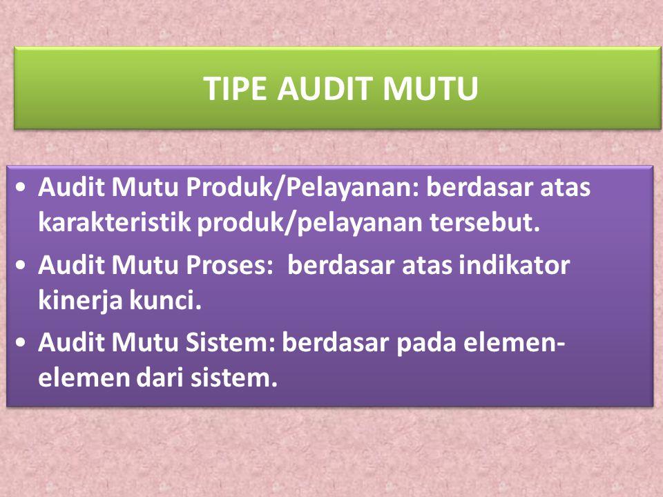 TIPE AUDIT MUTU Audit Mutu Produk/Pelayanan: berdasar atas karakteristik produk/pelayanan tersebut. Audit Mutu Proses: berdasar atas indikator kinerja