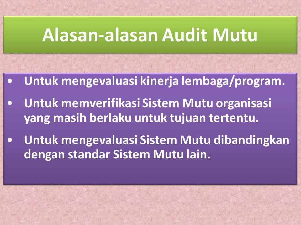 Alasan-alasan Audit Mutu Untuk mengevaluasi kinerja lembaga/program. Untuk memverifikasi Sistem Mutu organisasi yang masih berlaku untuk tujuan terten