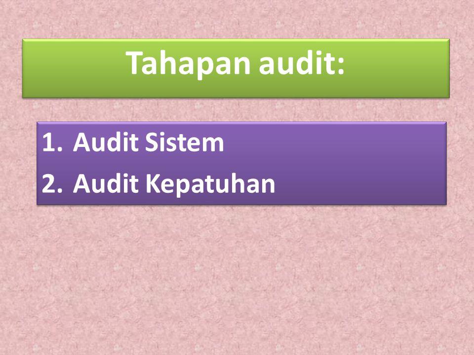 Tahapan audit: 1.Audit Sistem 2.Audit Kepatuhan 1.Audit Sistem 2.Audit Kepatuhan