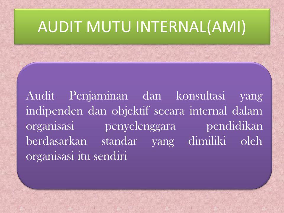 AUDIT MUTU INTERNAL(AMI) Audit Penjaminan dan konsultasi yang indipenden dan objektif secara internal dalam organisasi penyelenggara pendidikan berdasarkan standar yang dimiliki oleh organisasi itu sendiri