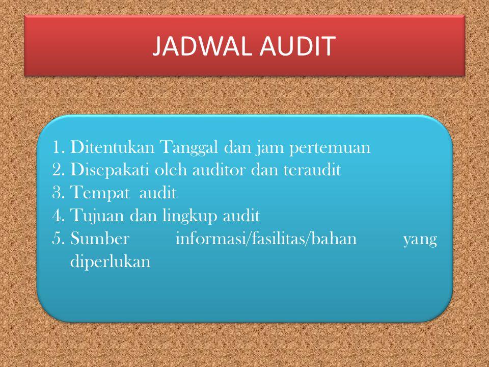 JADWAL AUDIT 1.Ditentukan Tanggal dan jam pertemuan 2.Disepakati oleh auditor dan teraudit 3.Tempat audit 4.Tujuan dan lingkup audit 5.Sumber informas