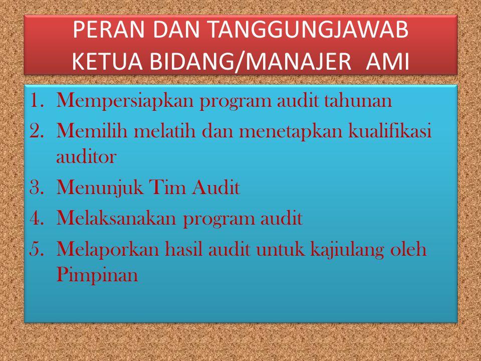 PERAN DAN TANGGUNGJAWAB KETUA BIDANG/MANAJER AMI 1.Mempersiapkan program audit tahunan 2.Memilih melatih dan menetapkan kualifikasi auditor 3.Menunjuk