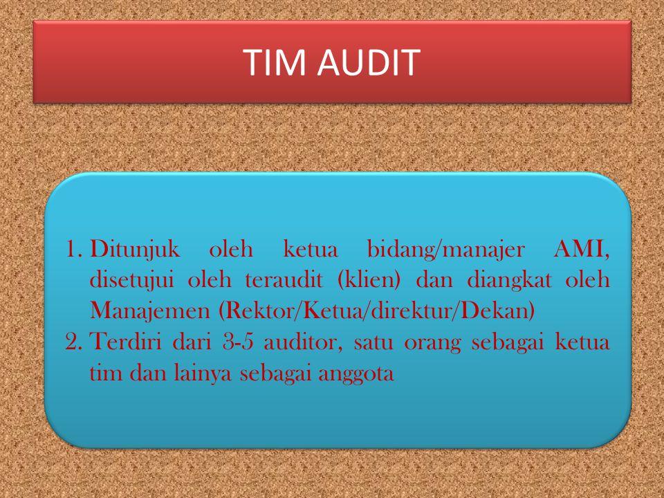 TIM AUDIT 1.Ditunjuk oleh ketua bidang/manajer AMI, disetujui oleh teraudit (klien) dan diangkat oleh Manajemen (Rektor/Ketua/direktur/Dekan) 2.Terdir