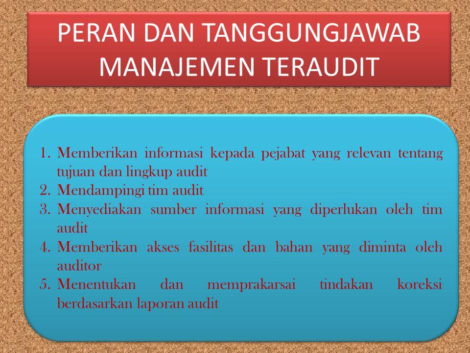 PERAN DAN TANGGUNGJAWAB MANAJEMEN TERAUDIT 1.Memberikan informasi kepada pejabat yang relevan tentang tujuan dan lingkup audit 2.Mendampingi tim audit
