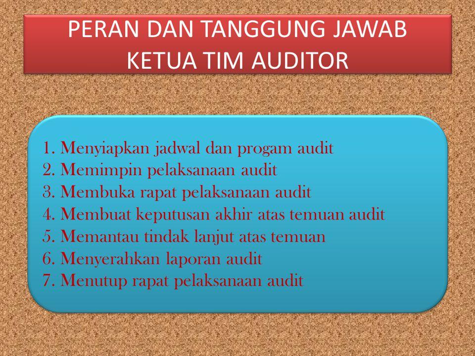 PERAN DAN TANGGUNG JAWAB KETUA TIM AUDITOR 1.Menyiapkan jadwal dan progam audit 2.Memimpin pelaksanaan audit 3.Membuka rapat pelaksanaan audit 4.Membu