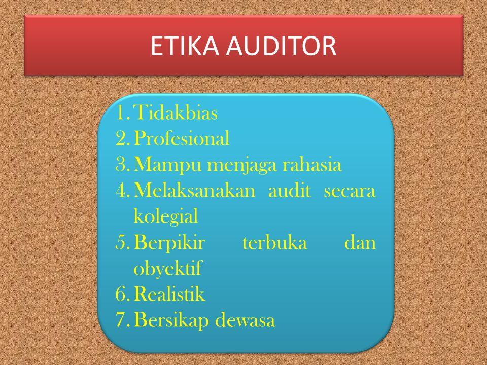 ETIKA AUDITOR 1.Tidakbias 2.Profesional 3.Mampu menjaga rahasia 4.Melaksanakan audit secara kolegial 5.Berpikir terbuka dan obyektif 6.Realistik 7.Ber