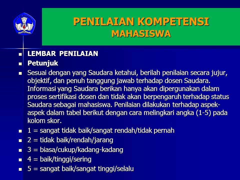 PENILAIAN KOMPETENSI MAHASISWA LEMBAR PENILAIAN LEMBAR PENILAIAN Petunjuk Petunjuk Sesuai dengan yang Saudara ketahui, berilah penilaian secara jujur, objektif, dan penuh tanggung jawab terhadap dosen Saudara.