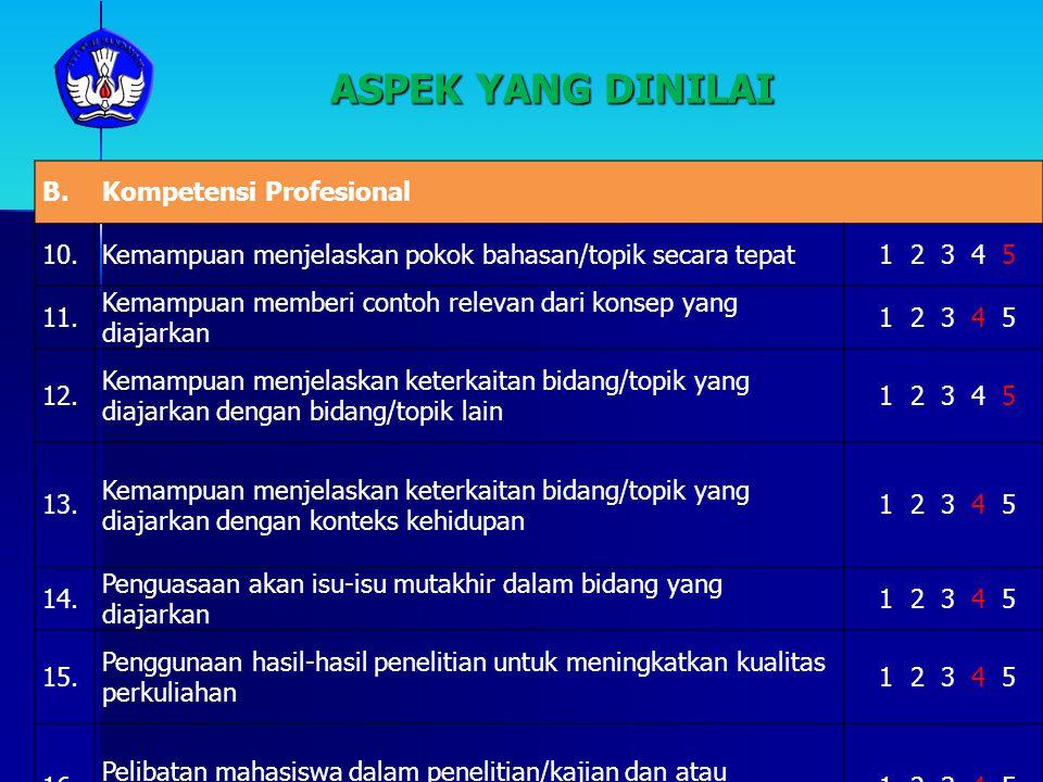 ASPEK YANG DINILAI B.Kompetensi Profesional 10.Kemampuan menjelaskan pokok bahasan/topik secara tepat 1 2 3 4 5 11. Kemampuan memberi contoh relevan d