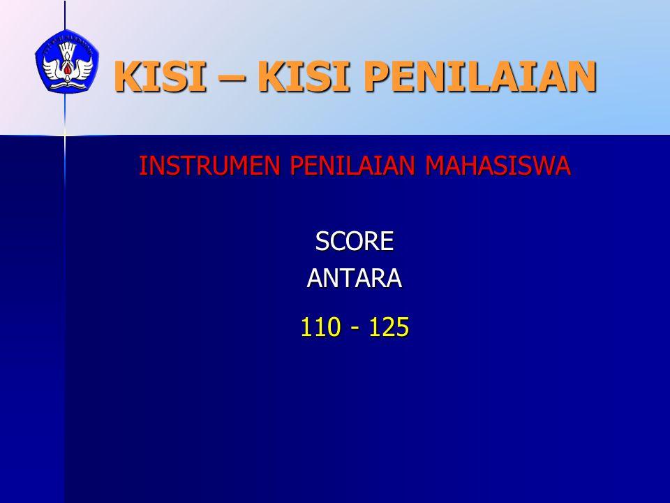 KISI – KISI PENILAIAN INSTRUMEN PENILAIAN MAHASISWA SCOREANTARA 110 - 125