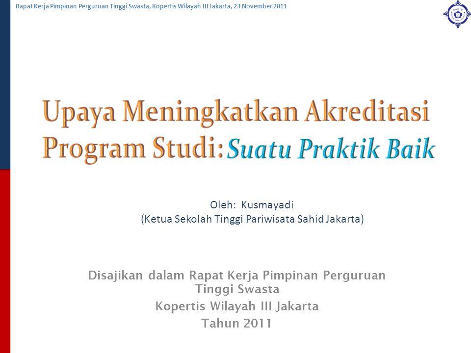 Rapat Kerja Pimpinan Perguruan Tinggi Swasta, Kopertis Wilayah III Jakarta, 23 November 2011 Disajikan dalam Rapat Kerja Pimpinan Perguruan Tinggi Swa