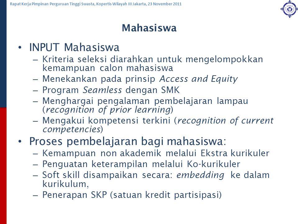 Rapat Kerja Pimpinan Perguruan Tinggi Swasta, Kopertis Wilayah III Jakarta, 23 November 2011 Mahasiswa INPUT Mahasiswa – Kriteria seleksi diarahkan un