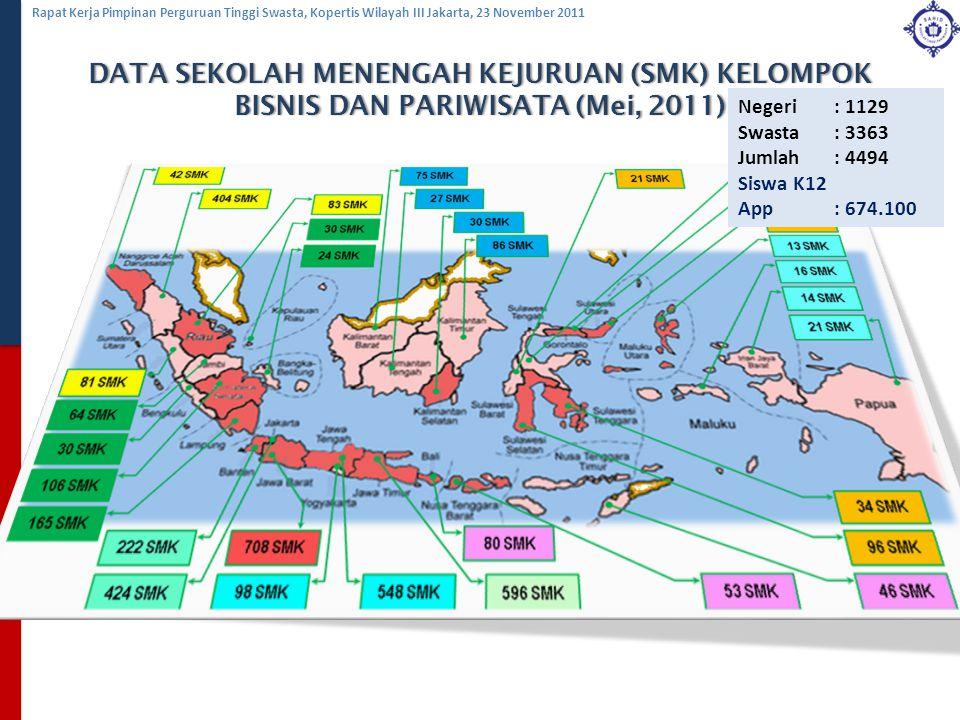 Rapat Kerja Pimpinan Perguruan Tinggi Swasta, Kopertis Wilayah III Jakarta, 23 November 2011 DATA SEKOLAH MENENGAH KEJURUAN (SMK) KELOMPOK BISNIS DAN