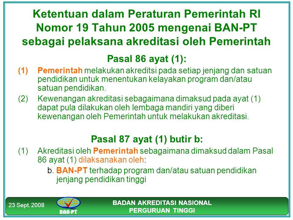 BADAN AKREDITASI NASIONAL PERGURUAN TINGGI 23 Sept. 2008 Ketentuan dalam Peraturan Pemerintah RI Nomor 19 Tahun 2005 mengenai BAN-PT sebagai pelaksana