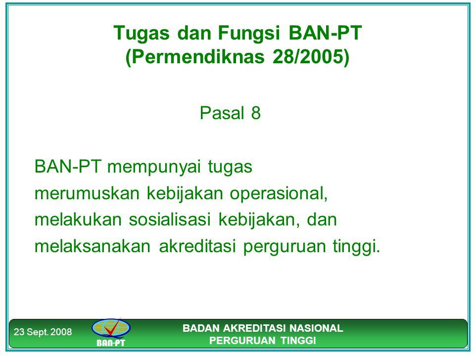 BAN-PT BADAN AKREDITASI NASIONAL PERGURUAN TINGGI 23 Sept. 2008 Tugas dan Fungsi BAN-PT (Permendiknas 28/2005) Pasal 8 BAN-PT mempunyai tugas merumusk