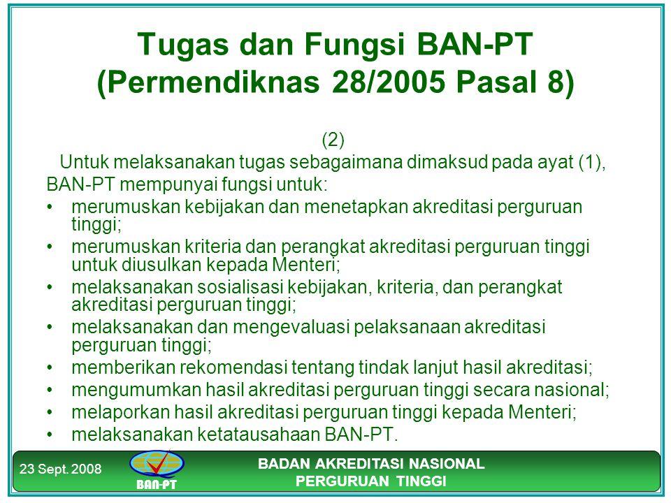 BAN-PT BADAN AKREDITASI NASIONAL PERGURUAN TINGGI 23 Sept. 2008 Tugas dan Fungsi BAN-PT (Permendiknas 28/2005 Pasal 8) (2) Untuk melaksanakan tugas se