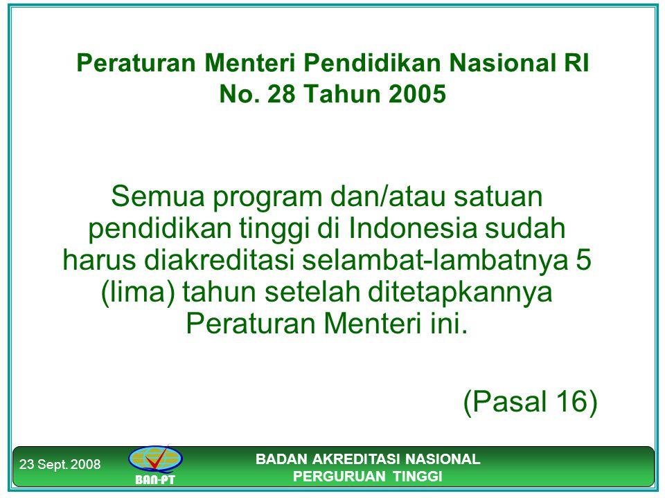 BAN-PT BADAN AKREDITASI NASIONAL PERGURUAN TINGGI 23 Sept. 2008 Peraturan Menteri Pendidikan Nasional RI No. 28 Tahun 2005 Semua program dan/atau satu