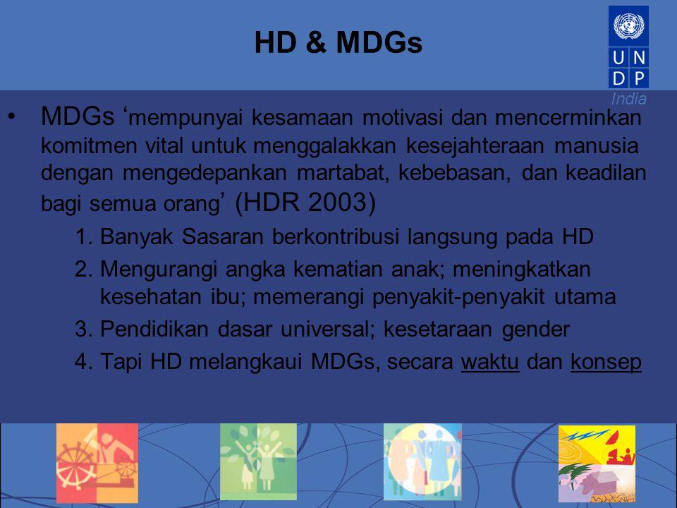 India HD & MDGs MDGs ' mempunyai kesamaan motivasi dan mencerminkan komitmen vital untuk menggalakkan kesejahteraan manusia dengan mengedepankan marta