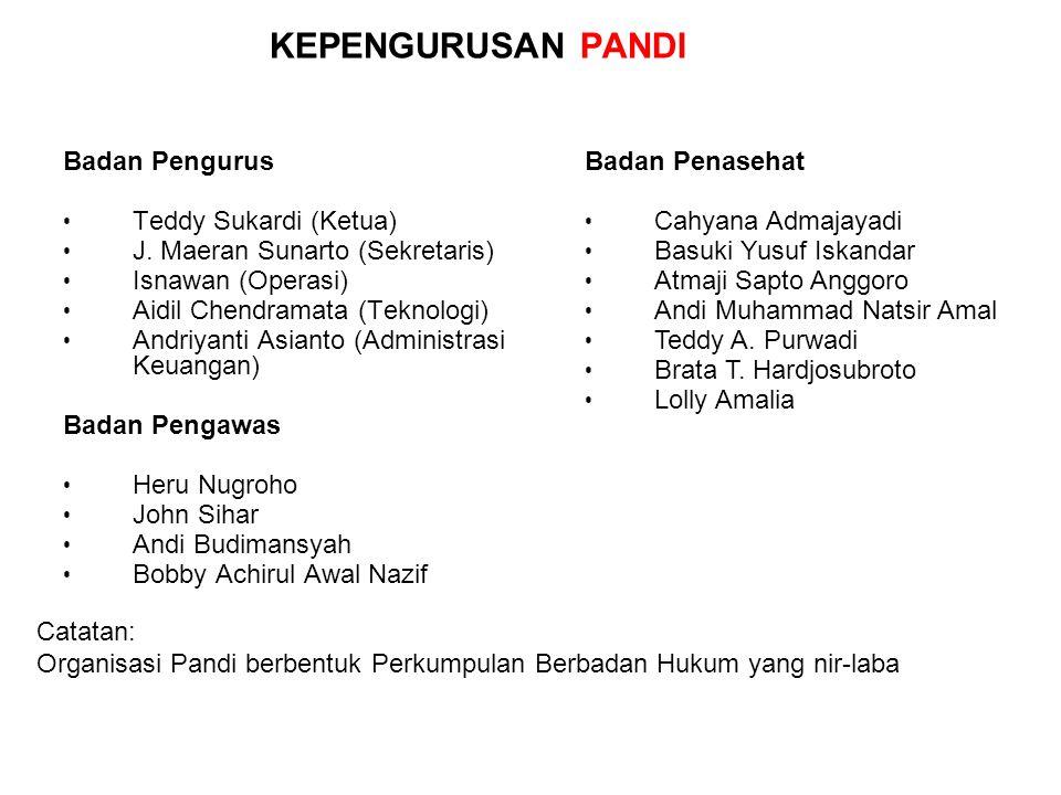 KEPENGURUSAN PANDI Badan Pengurus Teddy Sukardi (Ketua) J.