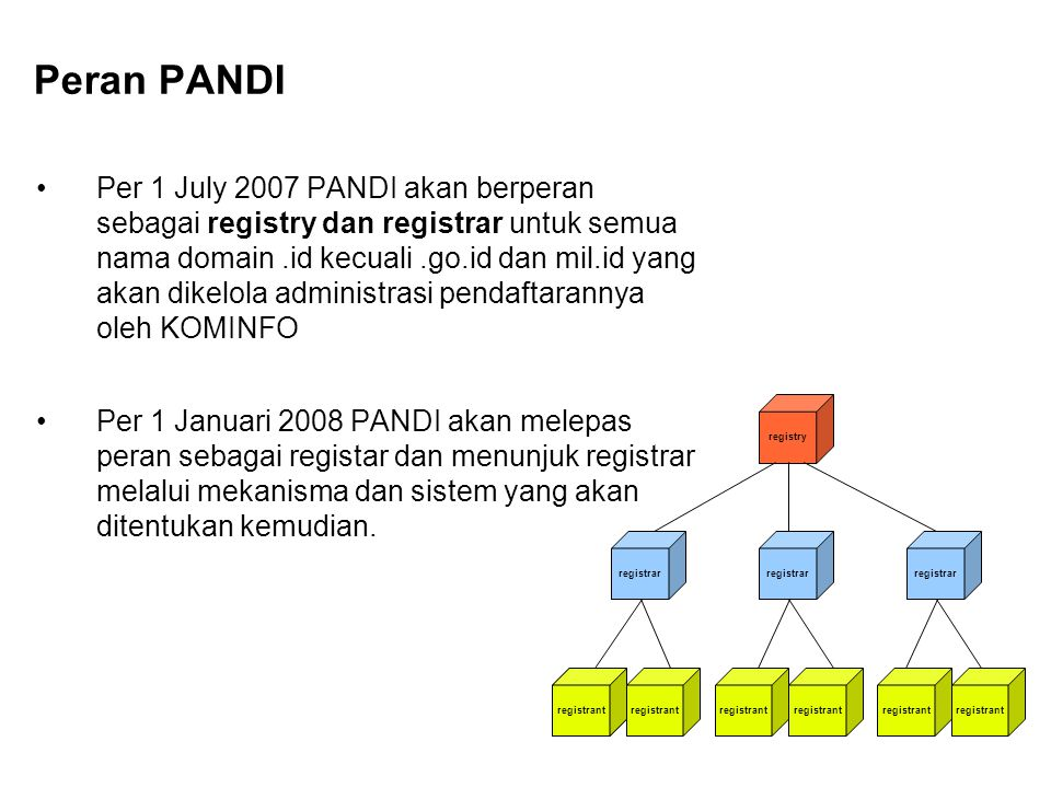 Per 1 July 2007 PANDI akan berperan sebagai registry dan registrar untuk semua nama domain.id kecuali.go.id dan mil.id yang akan dikelola administrasi pendaftarannya oleh KOMINFO Per 1 Januari 2008 PANDI akan melepas peran sebagai registar dan menunjuk registrar melalui mekanisma dan sistem yang akan ditentukan kemudian.
