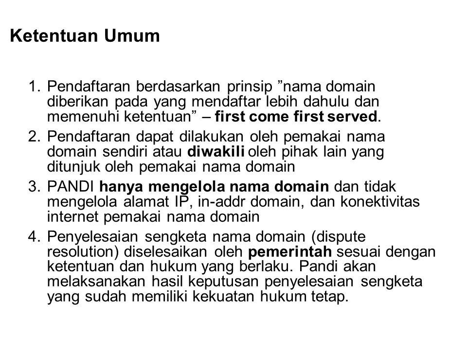 Proses Perpanjangan 1)Pendaftar melakukan konfirmasi memperpanjang nama domain dengan klik tombol renewal untuk nama domain dalam sistem 2)Pendaftar melakukan pembayaran melalui transfer ke rekening bank PANDI 3)Bila diperkukan pendaftar dapat menggunakan formulir notofikasi untuk pembayaran nama domain dalam jumlah banyak (form dapat didownload) 4)Pendaftar mengirimkan notifikasi sudah melakukan pembayaran dengan menyebutkan nama domain 5)Sesudah admin memeriksa pembayaran perpanjangan nama domain akan diproses dan masa pakai nama domain disesuaikan