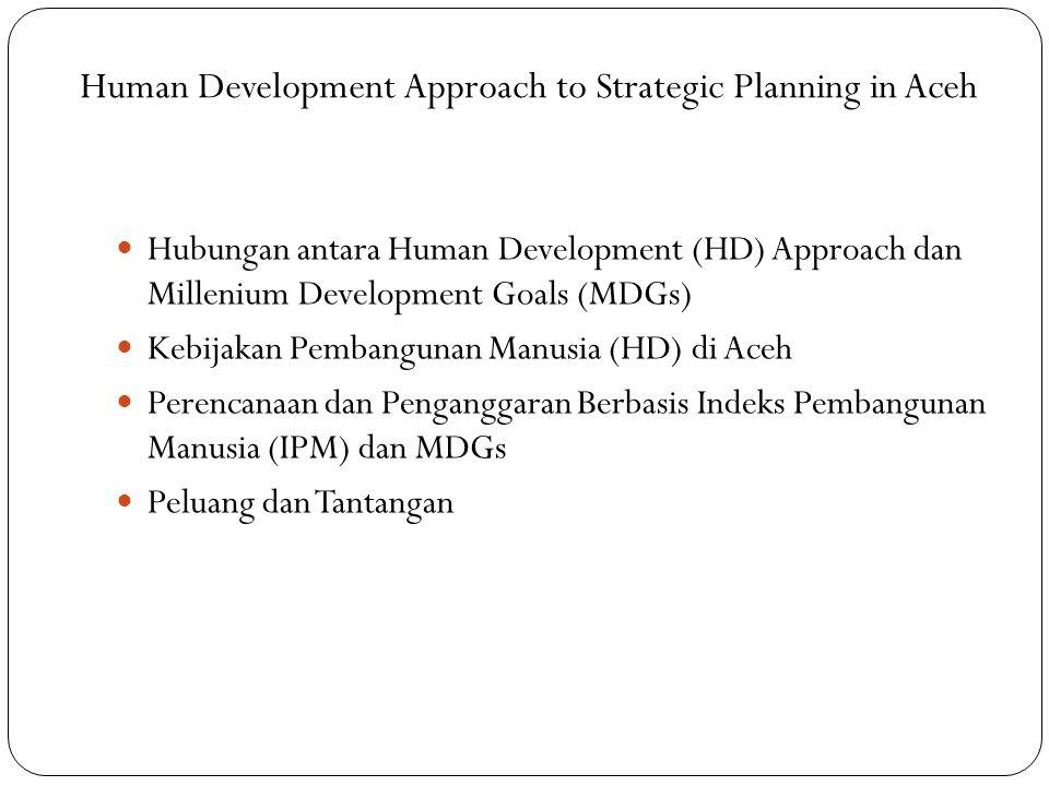 Pencapaian MDGs terkait HD di Aceh …(2) Indikator Millenium Development Goals Indonesia (2008) Aceh (2007) Target (2015) — Tujuan 2.