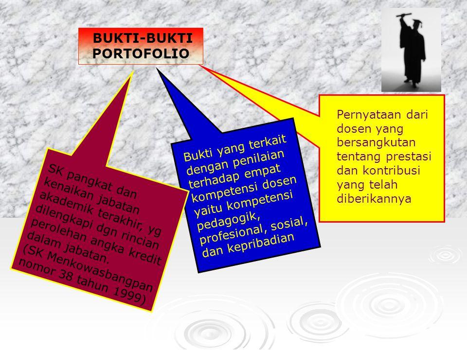 BUKTI-BUKTI PORTOFOLIO Pernyataan dari dosen yang bersangkutan tentang prestasi dan kontribusi yang telah diberikannya SK pangkat dan kenaikan jabatan