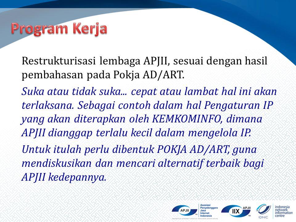 Restrukturisasi lembaga APJII, sesuai dengan hasil pembahasan pada Pokja AD/ART. Suka atau tidak suka... cepat atau lambat hal ini akan terlaksana. Se