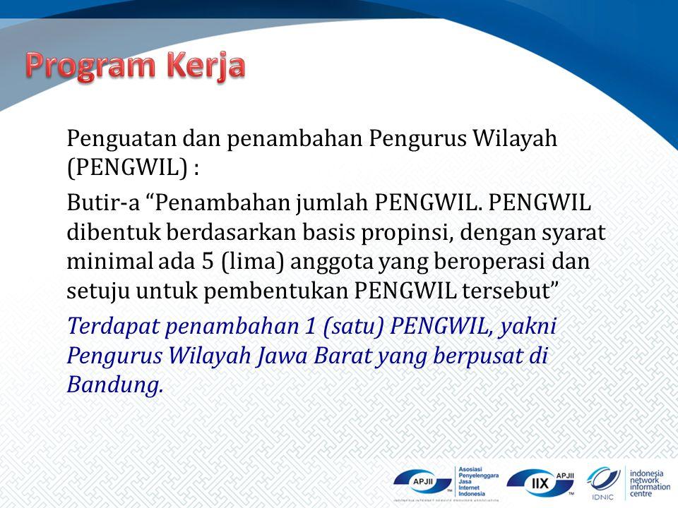 """Penguatan dan penambahan Pengurus Wilayah (PENGWIL) : Butir-a """"Penambahan jumlah PENGWIL. PENGWIL dibentuk berdasarkan basis propinsi, dengan syarat m"""