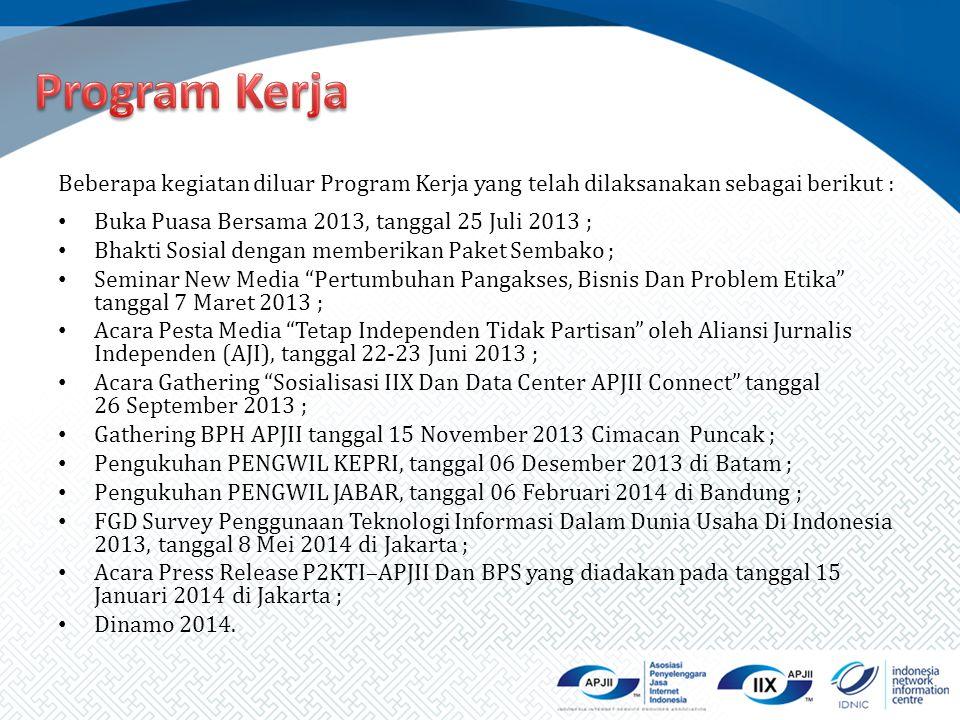 Beberapa kegiatan diluar Program Kerja yang telah dilaksanakan sebagai berikut : Buka Puasa Bersama 2013, tanggal 25 Juli 2013 ; Bhakti Sosial dengan