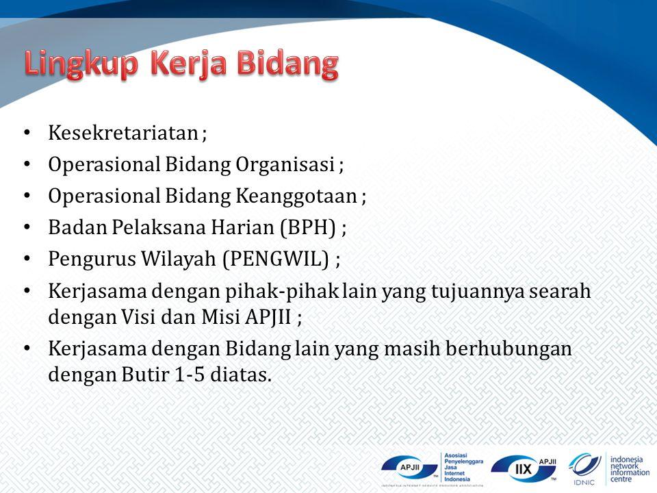 Kesekretariatan ; Operasional Bidang Organisasi ; Operasional Bidang Keanggotaan ; Badan Pelaksana Harian (BPH) ; Pengurus Wilayah (PENGWIL) ; Kerjasa