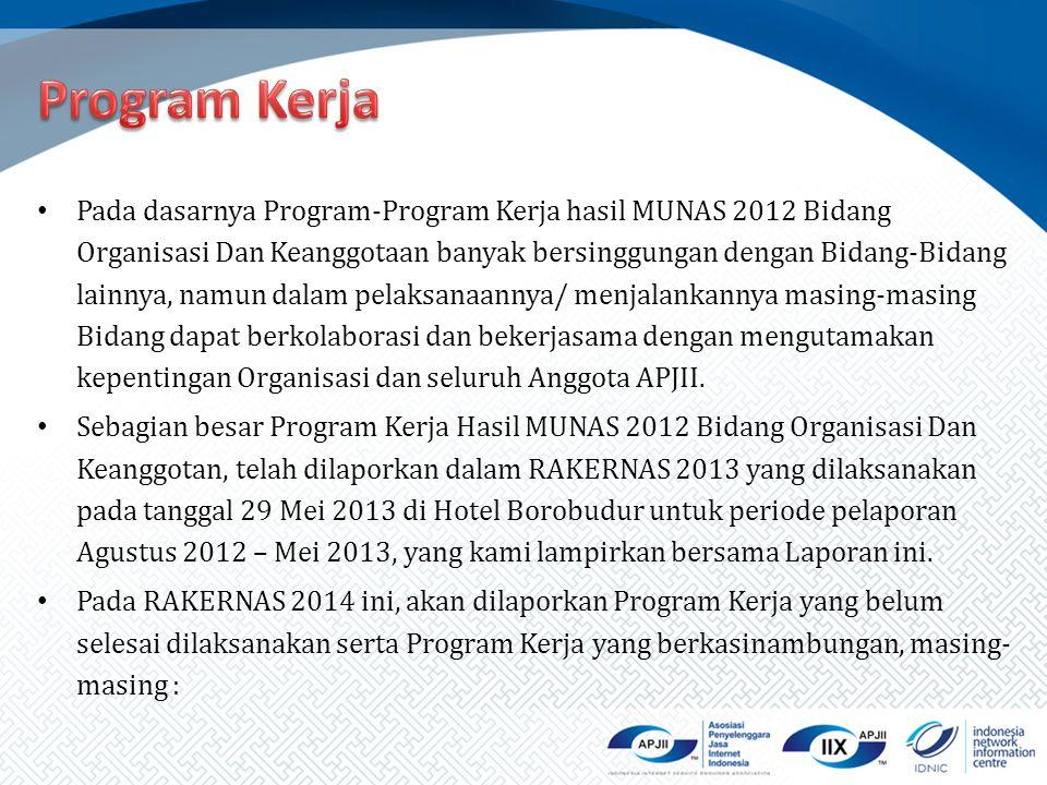 Pada dasarnya Program-Program Kerja hasil MUNAS 2012 Bidang Organisasi Dan Keanggotaan banyak bersinggungan dengan Bidang-Bidang lainnya, namun dalam