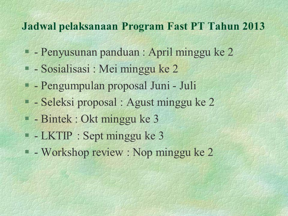 Jadwal pelaksanaan Program Fast PT Tahun 2013 §- Penyusunan panduan : April minggu ke 2 §- Sosialisasi : Mei minggu ke 2 §- Pengumpulan proposal Juni - Juli §- Seleksi proposal : Agust minggu ke 2 §- Bintek : Okt minggu ke 3 §- LKTIP : Sept minggu ke 3 §- Workshop review : Nop minggu ke 2