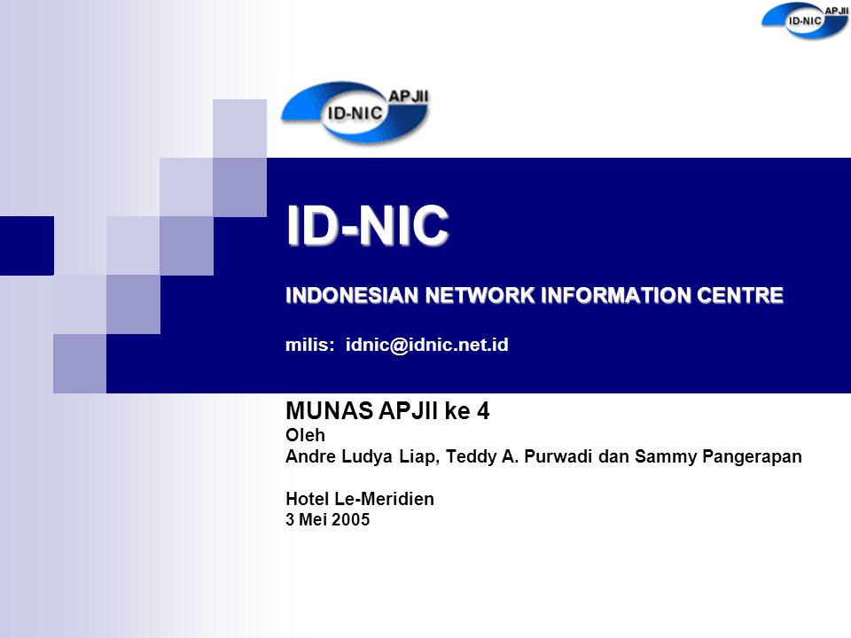 ID-NIC INDONESIAN NETWORK INFORMATION CENTRE ID-NIC INDONESIAN NETWORK INFORMATION CENTRE milis: idnic@idnic.net.id MUNAS APJII ke 4 Oleh Andre Ludya