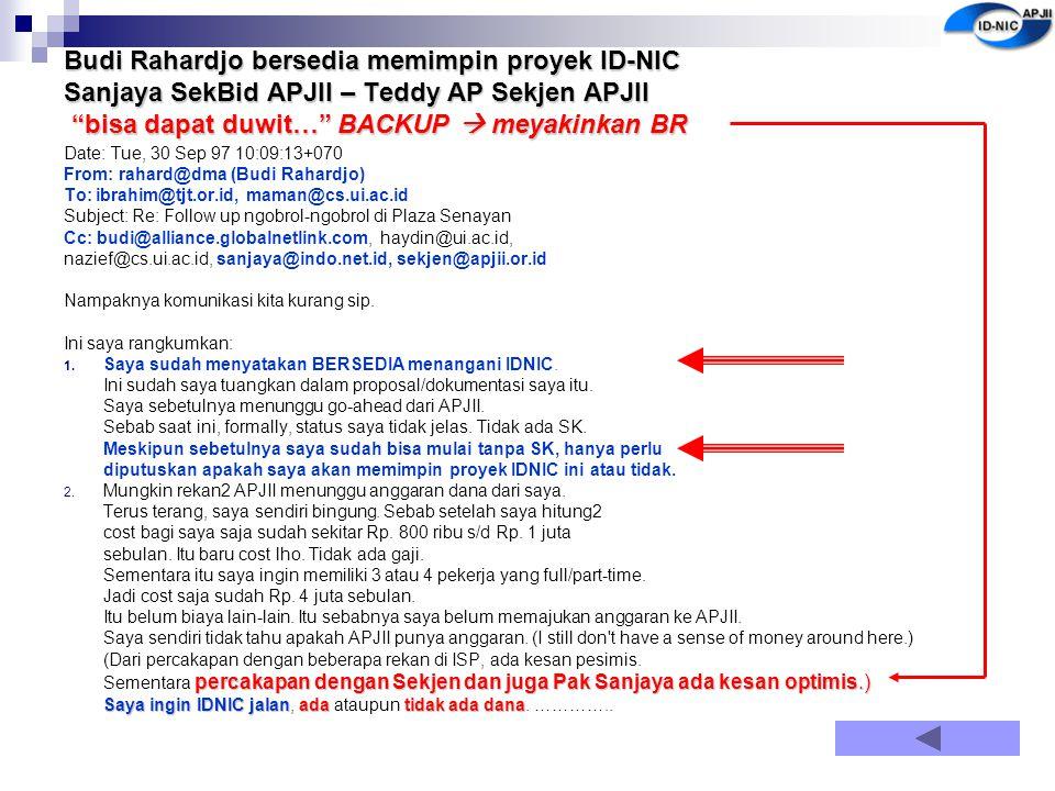 """Budi Rahardjo bersedia memimpin proyek ID-NIC Sanjaya SekBid APJII – Teddy AP Sekjen APJII """"bisa dapat duwit…"""" BACKUP  meyakinkan BR Date: Tue, 30 Se"""