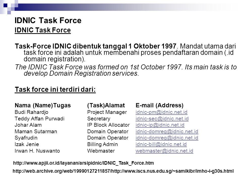 IDNIC Task Force Task-Force IDNIC dibentuk tanggal 1 Oktober 1997. Mandat utama dari task force ini adalah untuk membenahi proses pendaftaran domain (