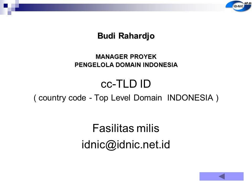 Budi Rahardjo MANAGER PROYEK PENGELOLA DOMAIN INDONESIA cc-TLD ID ( country code - Top Level Domain INDONESIA ) Fasilitas milis idnic@idnic.net.id