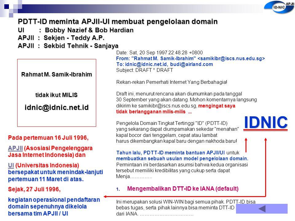 PDTT-ID meminta APJII-UI membuat pengelolaan domain UI : Bobby Nazief & Bob Hardian APJII : Sekjen - Teddy A.P. APJII : Sekbid Tehnik - Sanjaya Date: