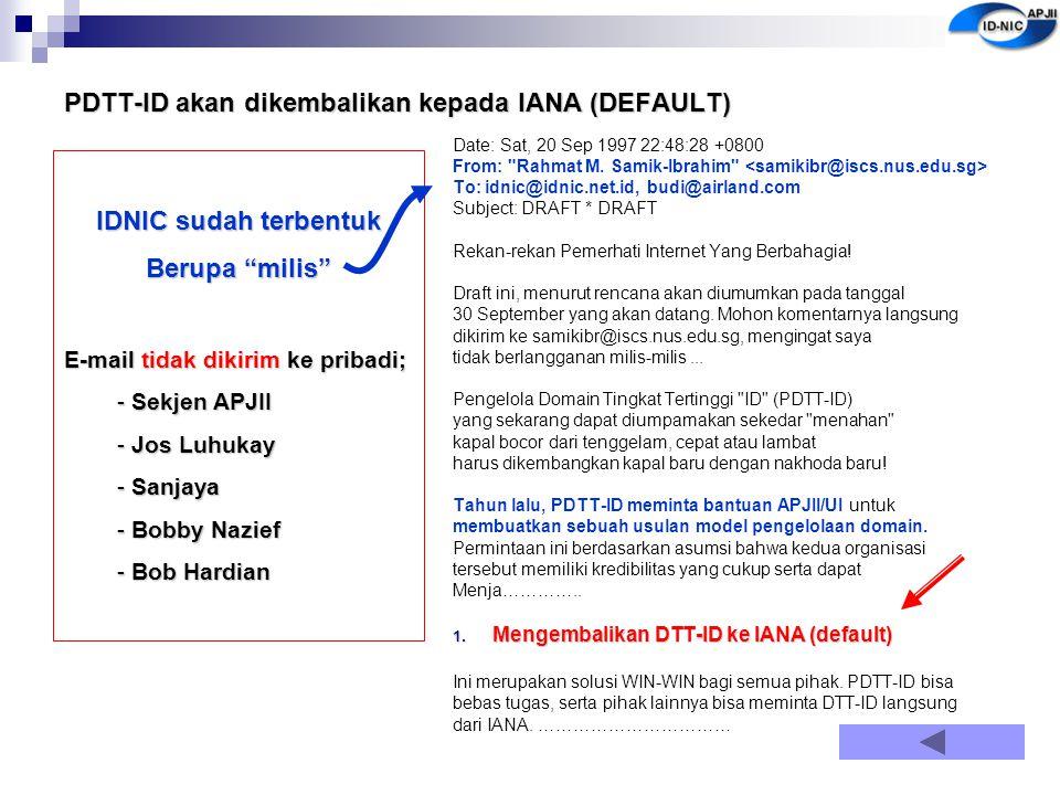 PDTT-ID akan dikembalikan kepada IANA (DEFAULT) Date: Sat, 20 Sep 1997 22:48:28 +0800 From: