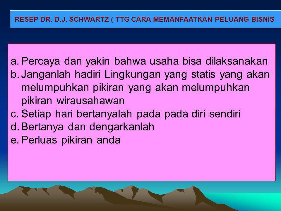RESEP DR. D.J. SCHWARTZ ( TTG CARA MEMANFAATKAN PELUANG BISNIS a.Percaya dan yakin bahwa usaha bisa dilaksanakan b.Janganlah hadiri Lingkungan yang st