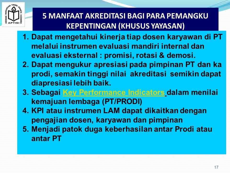 5 MANFAAT AKREDITASI BAGI PARA PEMANGKU KEPENTINGAN (KHUSUS YAYASAN) 17 1.Dapat mengetahui kinerja tiap dosen karyawan di PT melalui instrumen evaluasi mandiri internal dan evaluasi eksternal : promisi, rotasi & demosi.