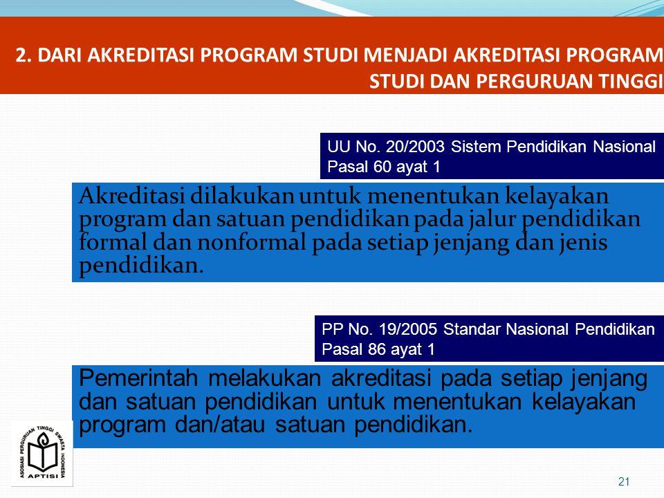 2. DARI AKREDITASI PROGRAM STUDI MENJADI AKREDITASI PROGRAM STUDI DAN PERGURUAN TINGGI Akreditasi dilakukan untuk menentukan kelayakan program dan sat